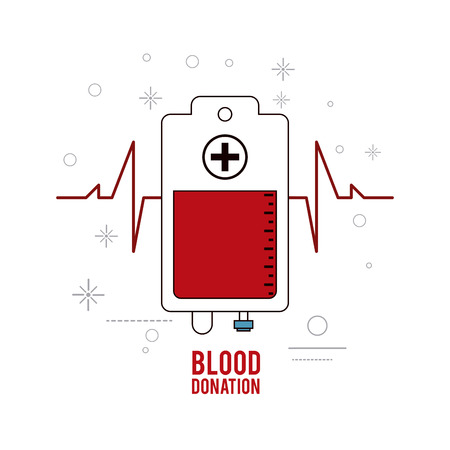 blood bag: blood bag pulse donation icon. Colorfull and flat illustration. Vector graphic Illustration