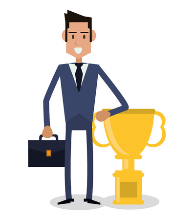 associates: Businessman man male trophy winner business icon. Colorfull and flat illustration. Vector graphic