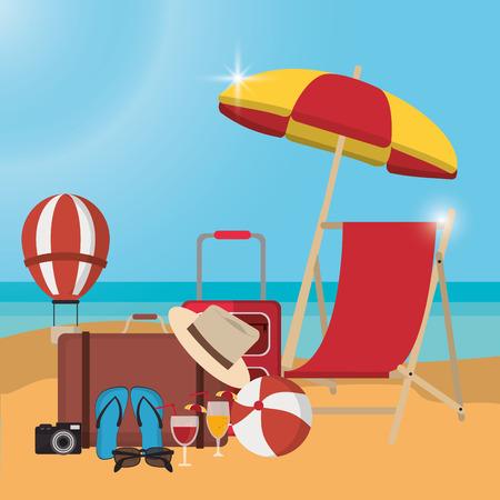 chair bag cocktail camera sandals hot air balloon umbrella ball summer holiday vacation icon. Colorfull and flat illustration. Vector graphic Vectores