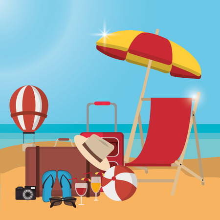 chair bag cocktail camera sandals hot air balloon umbrella ball summer holiday vacation icon. Colorfull and flat illustration. Vector graphic Vettoriali