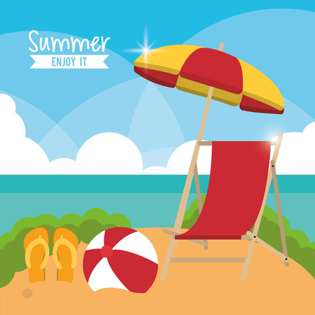 sandals: chair umbrella sandals ball summer holiday vacation icon. Colorfull and flat illustration. Vector graphic
