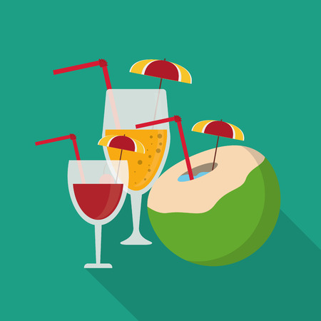 cocktail umbrella: cocktail umbrella coconut summer holiday vacation icon. Colorfull and flat illustration. Vector graphic