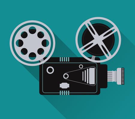 movie film reel: video camera movie film reel going to cinema icon. Colorfull illustration. Vector graphic