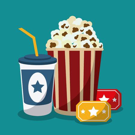 soda pop: soda pop corn movie film going to cinema icon. Colorfull illustration. Vector graphic
