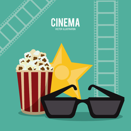 pop corn 3d glasses gold star movie film going to cinema icon. Colorfull illustration. Vector graphic Illustration