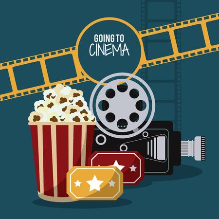 pop corn: video camera pop corn ticket movie film reel strip going to cinema icon. Colorfull illustration. Vector graphic