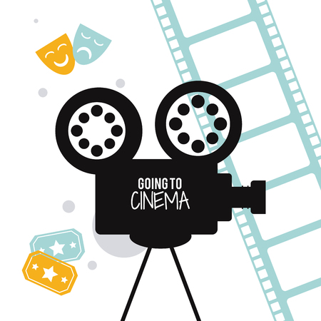 movie film reel: video camera movie film reel strip going to cinema icon. Colorfull illustration. Vector graphic