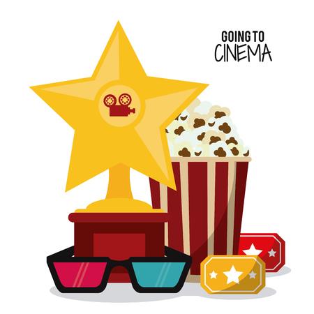pop corn: pop corn 3d glasses gold star movie film going to cinema icon. Colorfull illustration. Vector graphic Illustration