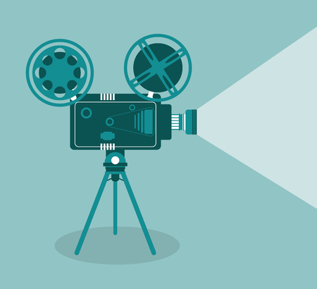video camera movie film reel going to cinema icon. Colorfull illustration. Vector graphic