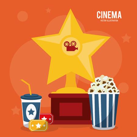 soda pop: soda pop corn ticket trophy movie film going to cinema icon. Colorfull illustration. Vector graphic Illustration