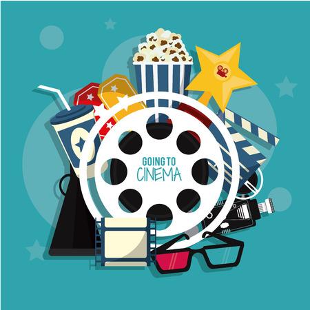 movie film reel: video camera pop corn ticket soda 3d glasses movie film reel strip going to cinema icon. Colorfull illustration. Vector graphic