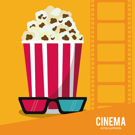 strip show: pop corn 3d glasses movie film strip going to cinema icon. Colorfull illustration. Vector graphic Illustration