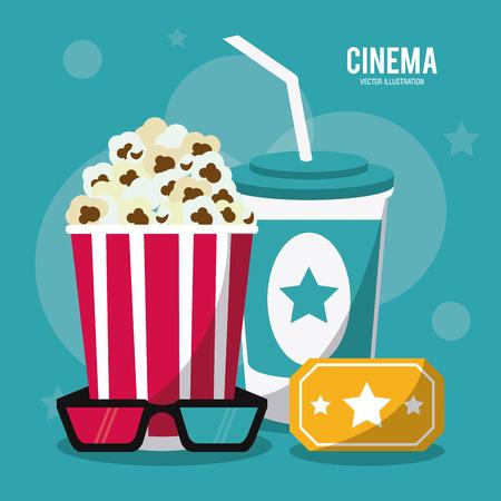 soda pop: soda pop corn ticket 3d glasses movie film going to cinema icon. Colorfull illustration. Vector graphic