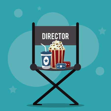 soda pop: director chair pop corn soda ticket movie film going to cinema icon. Colorfull illustration. Vector graphic