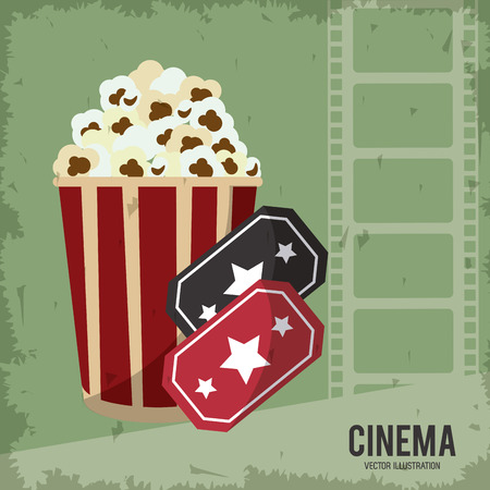 pop corn ticket movie film going to cinema icon. Colorfull and grunge illustration. Vector graphic