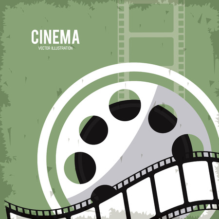 movie film reel: movie film reel strip going to cinema icon. Colorfull and grunge illustration. Vector graphic Illustration