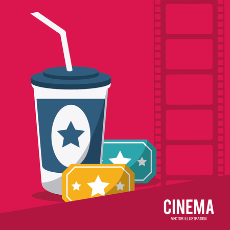 cinema viewing: soda tickets movie film going to cinema icon. Colorfull illustration. Vector graphic