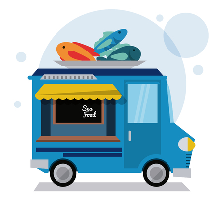 sea food truck fast food delivery transportation creative icon. Colorfull illustration. Vector graphic