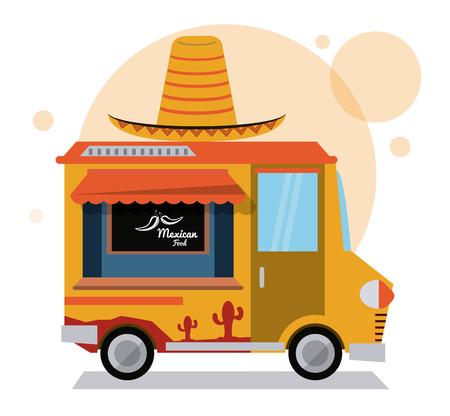 Mexicaanse vrachtwagen snelle voedsel levering transport creatieve pictogram taco. Kleurrijke illustratie. Vector afbeelding