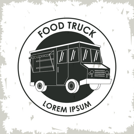 consume: silhouette truck fast food delivery transportation creative icon. Isolated illustration. Vector graphic Illustration