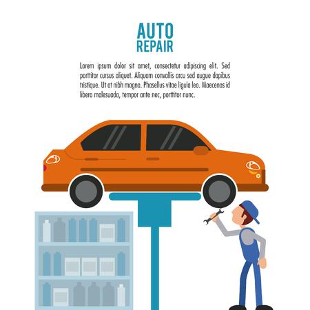 mechanic man: mechanic man cartoon vehicle car auto rapair service maintenance icon. Colorfull illustration. Vector graphic Illustration