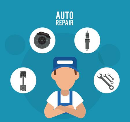 mechanic man: mechanic man cartoon wrench wheel auto rapair service maintenance icon. Colorfull illustration. Vector graphic