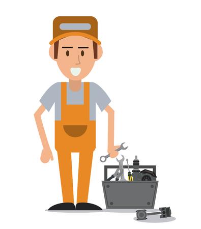 mechanic man: mechanic man cartoon tools kit auto rapair service maintenance icon. Colorfull illustration. Vector graphic