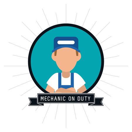 mechanic man: mechanic man cartoon seal stamp auto rapair service maintenance icon. Colorfull illustration. Vector graphic