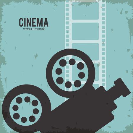 movie film reel: video camera movie film reel cinema icon. Colorfull and grunge illustration. Vector graphic