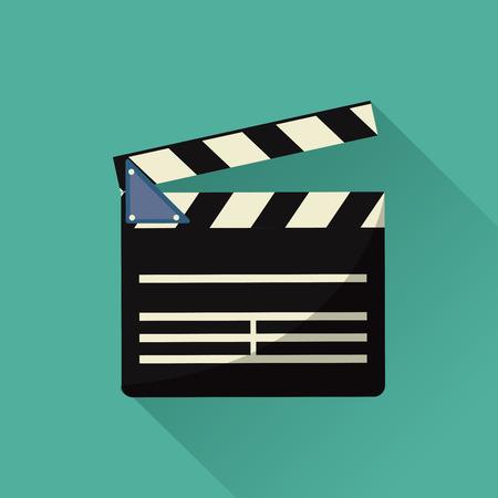 cinta pelicula: tablilla de la película icono del cine de la película. ilustración llena de color. gráfico vectorial Vectores