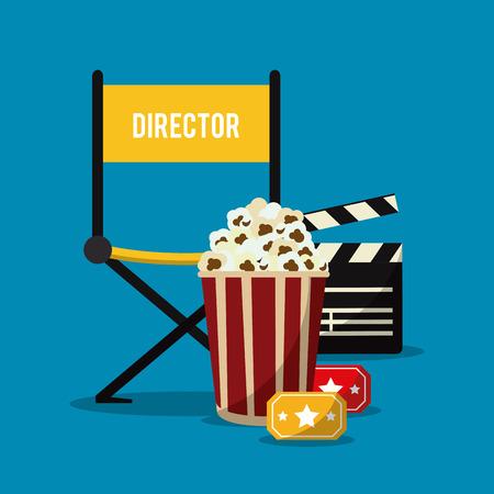 pop corn: director chair pop corn clapboard ticket movie film cinema icon. Colorfull illustration. Vector graphic