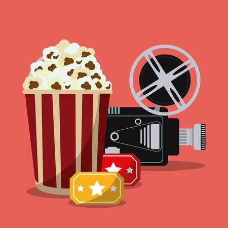 pop corn: video camera pop corn movie film reel cinema icon. Colorfull illustration. Vector graphic Illustration