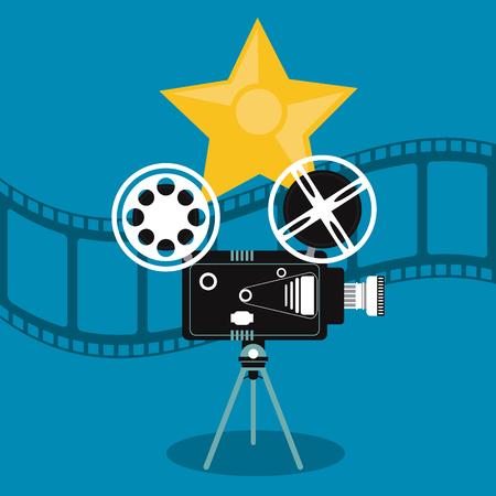movie film reel: video camera star movie film reel cinema icon. Colorfull illustration. Vector graphic
