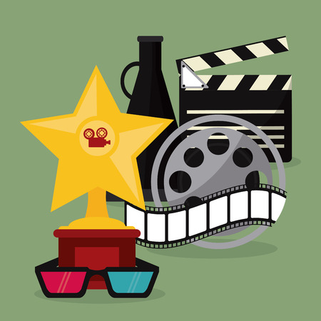 movie film reel: star 3d glasses clapboard movie film reel cinema icon. Colorfull illustration. Vector graphic