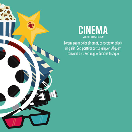 cinema viewing: star 3d glasses clapboard movie film reel cinema icon. Colorfull illustration. Vector graphic