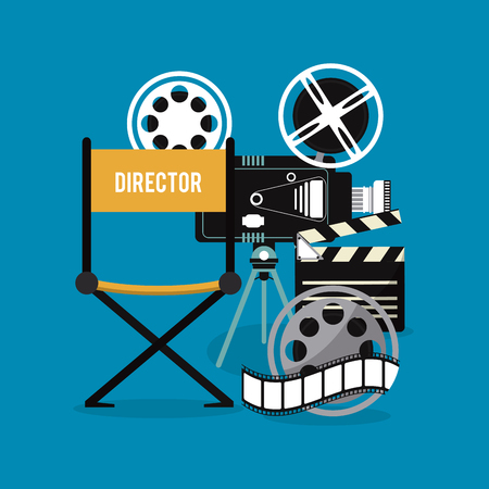 video camera clapboard movie film reel cinema icon. Colorfull illustration. Vector graphic Illustration