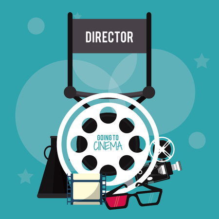 videocamera: director chair reel 3d glasses videocamera movie film cinema icon. Colorfull illustration. Vector graphic
