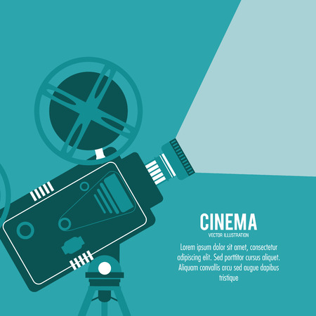 movie film reel: video camera movie film reel cinema icon. Colorfull illustration. Vector graphic Illustration