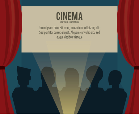 cinema viewing: theater people movie film cinema icon. Colorfull illustration. Vector graphic
