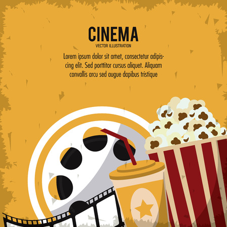 movie film reel: pop corn soda movie film reel cinema icon. Colorfull and grunge illustration. Vector graphic