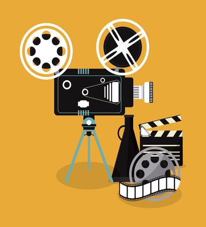 movie film reel: video camera clapboard movie film reel cinema icon. Colorfull illustration. Vector graphic Illustration