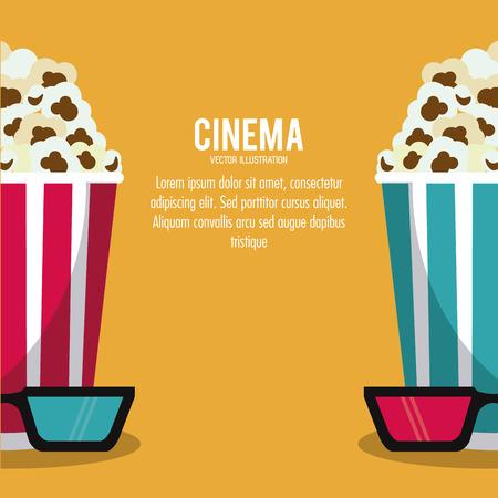 pop corn: pop corn 3d glasses movie film cinema icon. Colorfull illustration. Vector graphic
