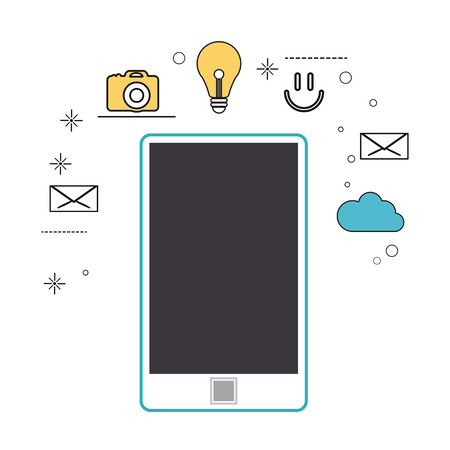 media gadget: smartphone gadget social media multimedia icon. Colorfull illustration. Vector graphic