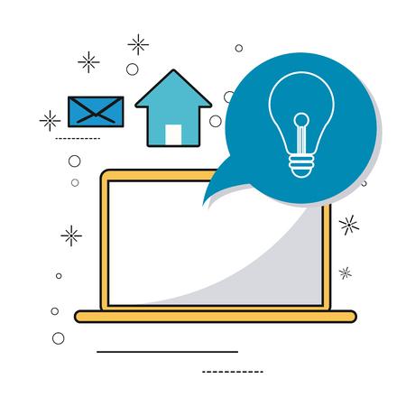 media gadget: laptop gadget social media multimedia icon. Colorfull illustration. Vector graphic
