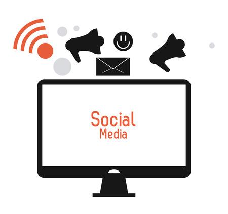 media gadget: computer megaphone envelope gadget social media multimedia icon. Colorfull illustration. Vector graphic Illustration