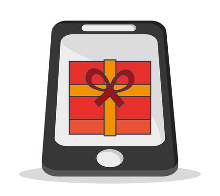 media network: smartphone gift social network media multimedia icon. Colorfull illustration. Vector graphic