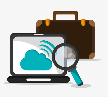 lupe: laptop cloud suitcase lupe social network media multimedia icon. Colorfull illustration. Vector graphic