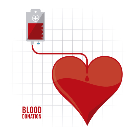 clinical laboratory: bag heart blood donation icon. Colorfull and flat illustration. Vector graphic