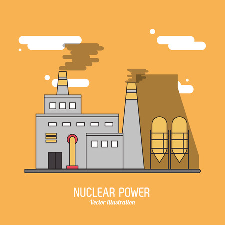 nuclear plant: Nuclear plant power smoke industry building chimney icon. Flat and Colorfull illustration. Vector graphic Illustration