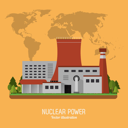nuclear plant: Nuclear plant power trees map industry building chimney icon. Flat and Colorfull illustration. Vector graphic